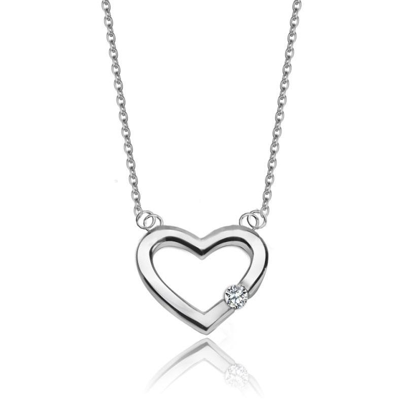 b7b42238674ddd Uroczy srebrny naszyjnik celebrytka serce z cyrkonią od 109,00 zł w ...