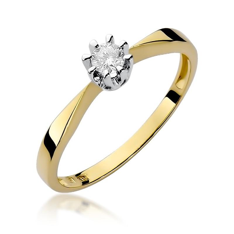 ae03f2c314f7ea Klasyczny złoty pierścionek zaręczynowy z niepowtarzanym brylantem;  Klasyczny złoty pierścionek ...