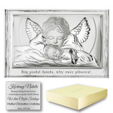 Srebrny obrazek na chrzest z aniołem stróżem