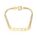 Złota bransoletka z kulkami z białego i żółtego złota