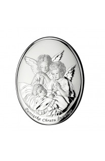 Srebrny owalny obrazek urocze aniołki Pamiątka na Chrzest z grawerem GRATIS