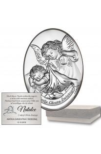 Srebrny owalny obrazek urzekający Anioł Stróż na Chrzest z grawerem GRATIS