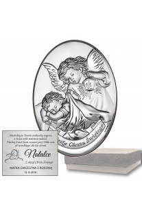 Srebrny owalny obrazek Anioł Stróż na Chrzest z grawerem GRATIS