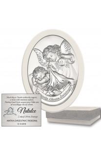 Pamiątka na Chrzest obrazek srebrny Anioł Stróż z grawerem GRATIS