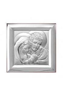 Srebrny obrazek Święta Rodzina Pamiątka Ślub Chrzest na prezent Grawer GRATIS