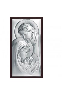 Obrazek srebrny z wizerunkiem Świętej Rodziny w szykownej oprawie z brązowego drewna