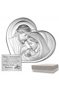Obrazek srebrny w symbolicznym sercu z wizerunkiem Świętej Rodziny