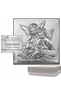 Obrazek srebrny na Chrzest Aniołki Grawer GRATIS