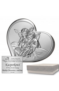 Srebrny obrazek w kształcie serca Dwa Aniołki Stróżujące