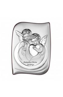 Srebrny obrazek Aniołek Chrzest Święty Prezent Grawer GRATIS