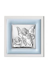 Srebrny obrazek z ramką Anioł Stróż na Chrzest z grawerem GRATIS