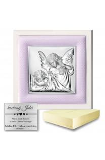 Srebrny obrazek z różową ramką Anioł Stróż Chrzest Święty grawer GRATIS
