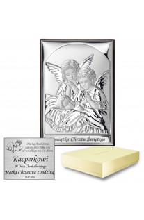 Srebrny obrazek Aniołki na Chrzest z grawerem GRATIS