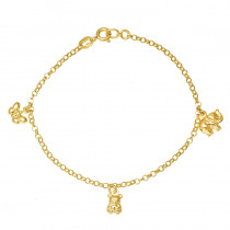 Złota bransoletka z trzema zawieszkami w kształcie słonika, misia i motylka Prezent Grawer GRATIS