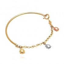 Złota bransoletka z wielobarwnymi biedronkami