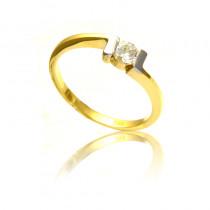 Elegancki pierścionek z białego i żółtego złota