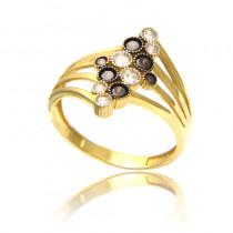 Złoty pierścionek z czarnymi cyrkoniami