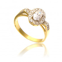 Wytworny złoty pierścionek z cyrkoniami Prezent Grawer GRATIS