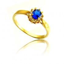 Klasyczny złoty pierścionek z cyrkonią w kolorze szafiru Prezent Grawer GRATIS