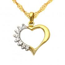 Złoty komplet łańcuszek z asymetrycznym sercem z cyrkoniami