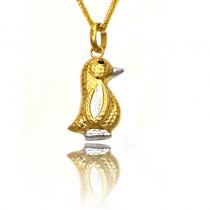 Złota zawieszka w kształcie uroczego pingwinka