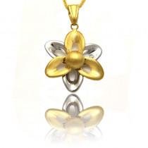 Złota dwukolorowa zawieszka w kształcie kwiatka
