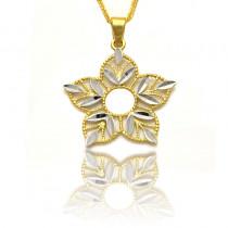 Złota dwukolorowa zawieszka kwiatek