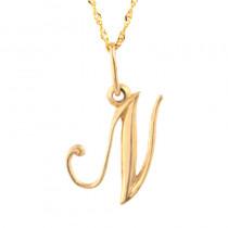 Złota zawieszka w kształcie literki N z łańcuszkiem