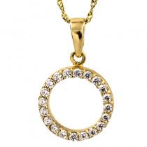 Złota okrągła zawieszka z łańcuszkiem