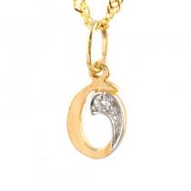 Złota zawieszka w kształcie literki O z cyrkoniami i łańcuszkiem