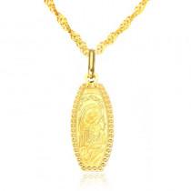 Złoty komplet medalik z Matką Boską z łańcuszkiem