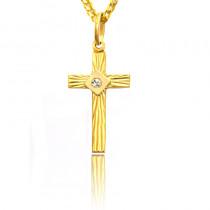 Złoty krzyżyk z kamieniem