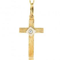 Błyszczący złoty komplet z krzyżykiem