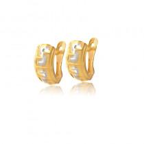 Finezyjne dwukolorowe złote kolczyki