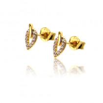 Złote kolczyki z lśniącymi cyrkoniami