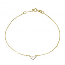 Złota bransoletka ozdobiona subtelnym serduszkiem z białego złota Prezent Grawer GRATIS
