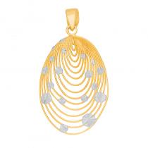 Złota zawieszka zdobiona białym złotem