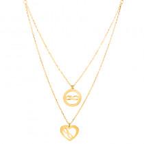 Naszyjnik złoty podwójny z sercem i nieskończonościami