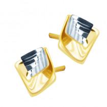 Eleganckie złote kolczyki romby z białym złotem