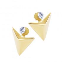 Symetryczne złote kolczyki trójkąty z cyrkonią