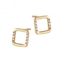 Złote kolczyki kwadraty ozdobione cyrkoniami