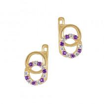 Złote kolczyki z fioletowymi i białymi cyrkoniami Prezent Grawer GRATIS