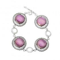 Srebrna bransoletka z fioletowym kamieniem