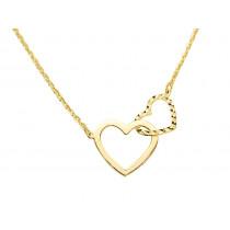 Złoty naszyjnik celebrytka 585  połączone serca