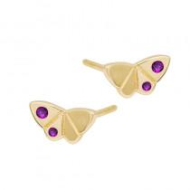 Złote kolczyki Motylki z cyrkoniami Prezent Grawer GRATIS