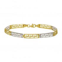 Złota bransoletka z żółtego i białego złota z greckim wzorem Prezent Grawer GRATIS