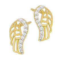 Złote kolczyki modne Skrzydła z cyrkoniami Prezent Grawer GRATIS