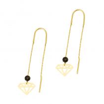 Złote kolczyki Diamenciki z czarną cyrkonią Prezent Grawer GRATIS