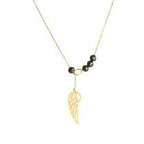 Złoty naszyjnik przeciągany z czarnymi cyrkoniami i Skrzydełkiem