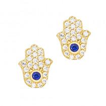 Złote kolczyki modna Ręka Fatimy Grawer GRATIS